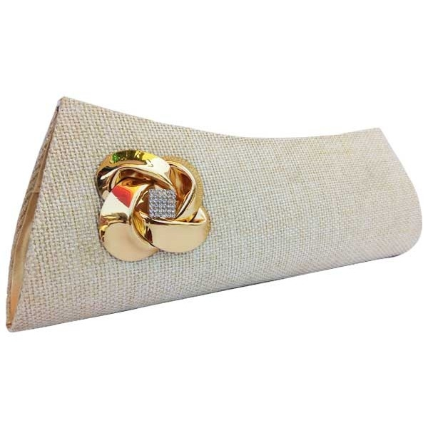 Jute Clutch with filigree work brooch