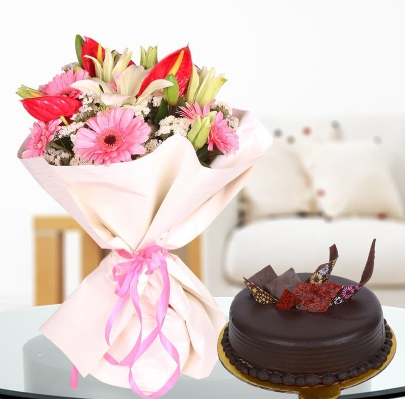 Admirable In Pink With Rich Truffle Cake